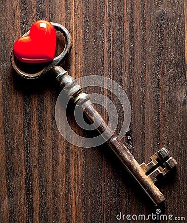 Valentine heart and rusty key