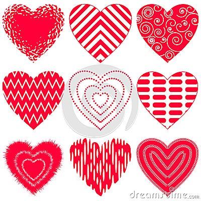 Valentine heart, set Vector Illustration