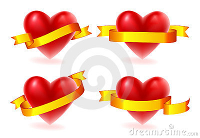 Valentine hearts with gold ribbon