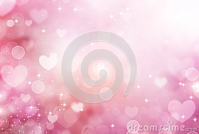 Valentine Hearts Pink Background