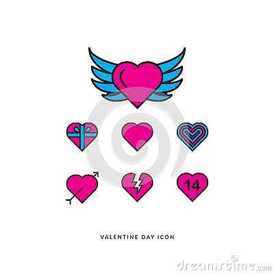 Valentine Icon set vector EPS 10 Vector Illustration