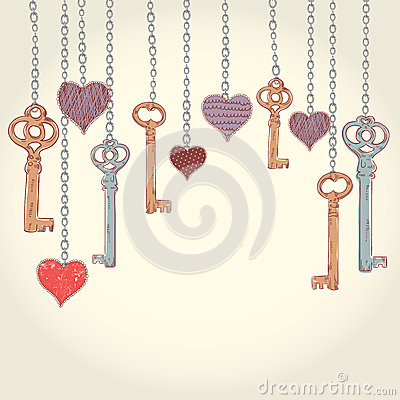 Free Valentine Invitation Card With Keys And Hearts Stock Photography - 28490232