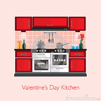 Free Valentine Kitchen Royalty Free Stock Images - 65474159