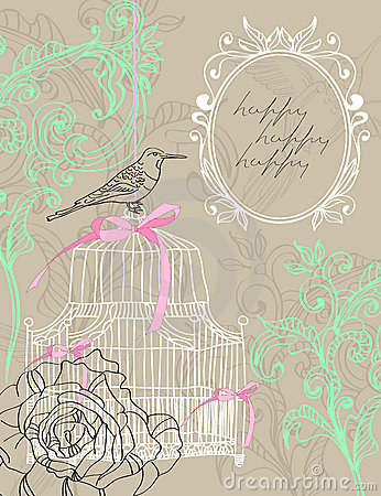 Valentine light brown background with cage