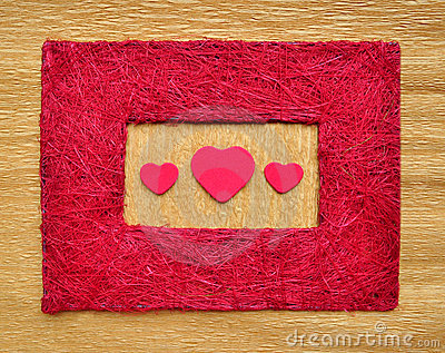 Valentine love heart inside red color frame border