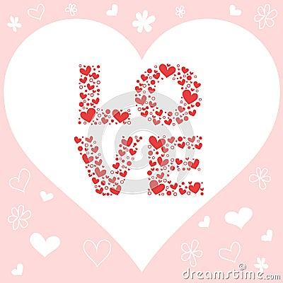 Valentine love invitation card with hearts