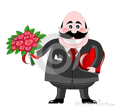 Free Valentine Man With Roses And Chocolates Stock Images - 28142884