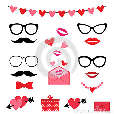 Valentine photo booth set Vector Illustration
