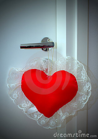 Valentine pillow on doorknob