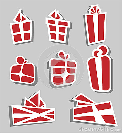Valentine red gift box sticker set