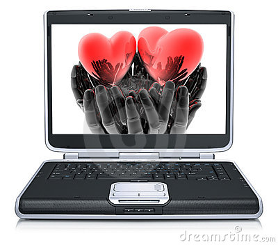 Valentine red heart on laptop