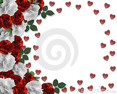 Valentine Red and white Roses Border