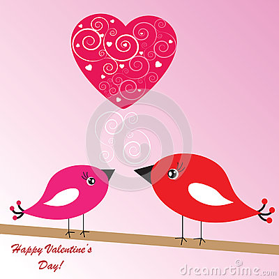 Valentine s background with birds and heart