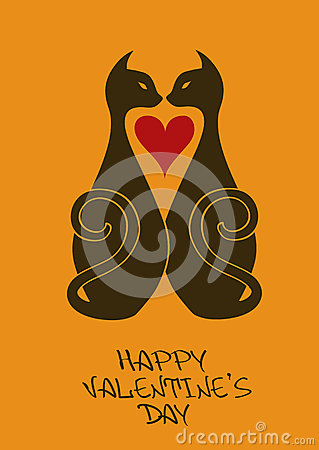 Valentine s card with beloved cats