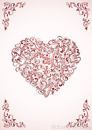Valentine s card with ornate Heart