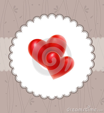 Free Valentine`s Card With Red Hearts Stock Images - 26621374