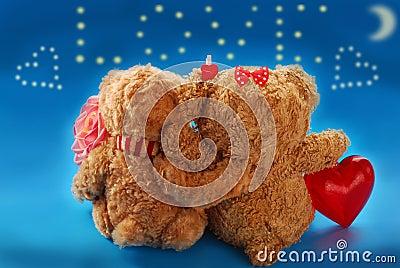 Valentine`s date of teddy bears couple