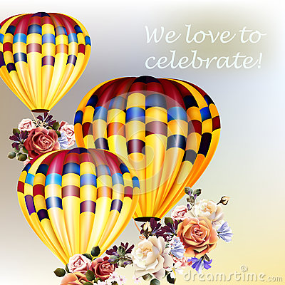 Free Valentine's Day Back With Roses And Air Balloons Royalty Free Stock Photography - 69619217