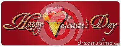 Valentine s day background with heart ice cream