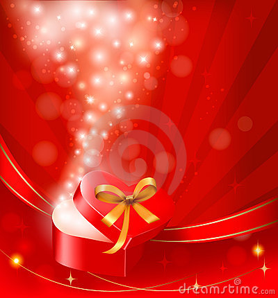 Free Valentine`s Day Background With Open Gift Box. Stock Image - 22985381