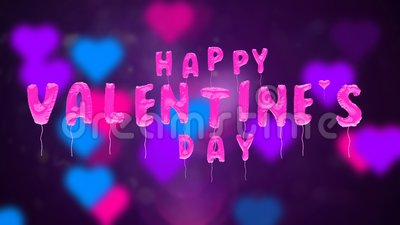 Valentine`s day balloons fly on abstract backdrop. 3d greeting card with wishes for valentine`s day from balloons fly up on abstract background. Inflatable pink
