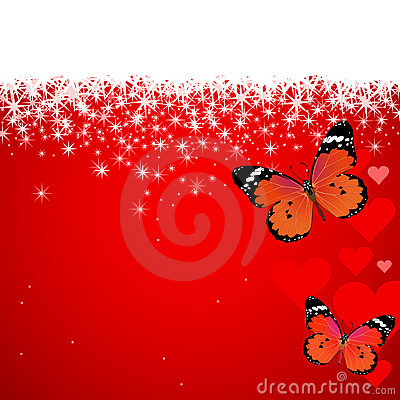 Valentine s day butterflies hearts snow