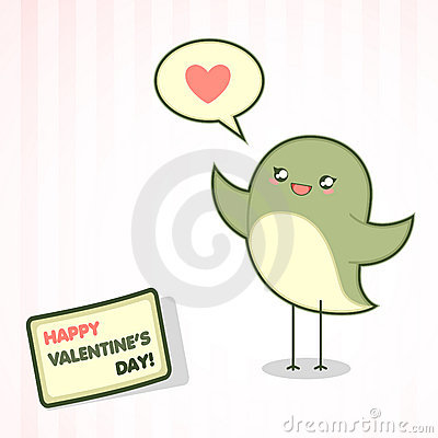 Valentine s Day card with the bird