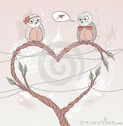 Valentine s day card. Cute bird in love.