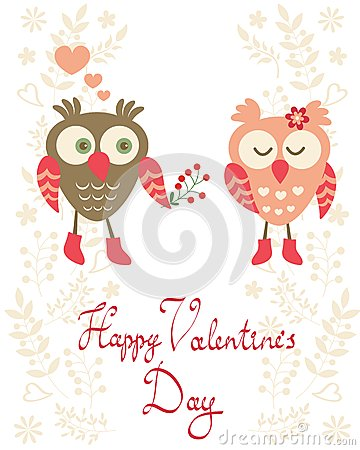 Valentine`s day card with owls