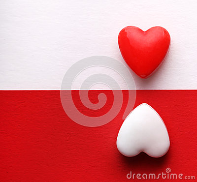 Free Valentine S Day Card. Two Hearts Over White And Red Backgrounds. Royalty Free Stock Photos - 36678208