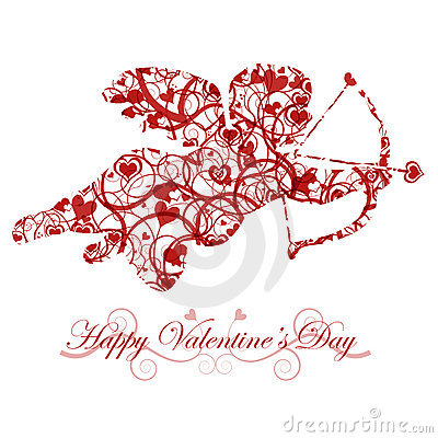 Valentine s Day Cupid with Bow and Heart Arrow