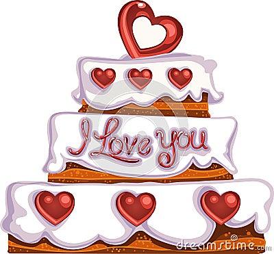 Valentine`s day delicious cake with sugar hearts