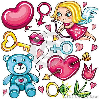 Valentine s day doodle set