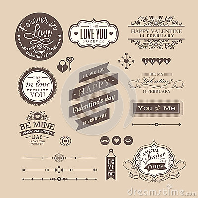 Free Valentine S Day Elements Labels And Frames Vintage Style Stock Image - 65899811