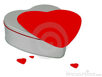 Valentine s Day gift-box with red hearts.