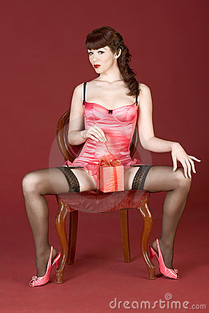 Valentines Day Gift Open By Pin Up Sexy Woman Royalty