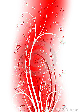Valentine s Day greeting card with scroll heart on abstract back