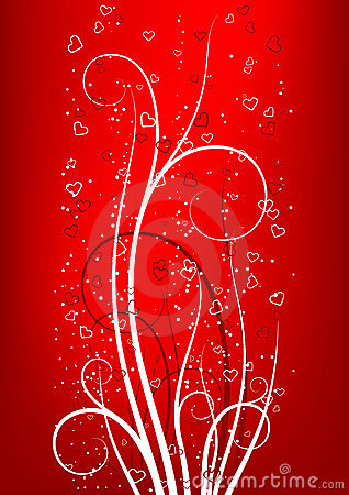 Valentine s Day greeting card with scroll heart on red backgroun