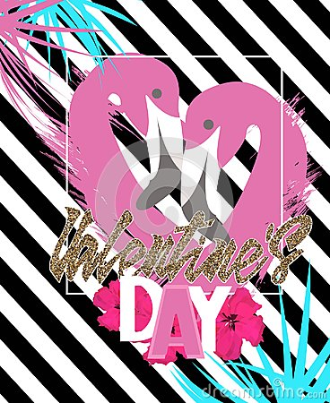 Free Valentine`s Day  Greeting Card With Rose Flamingos And Tropical Leaves. Royalty Free Stock Images - 109003869