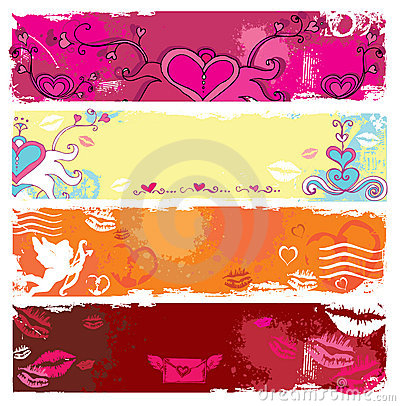 Free Valentine S Day Grunge Banners 2 Royalty Free Stock Images - 7923109