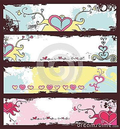 Valentine s day grunge banners set