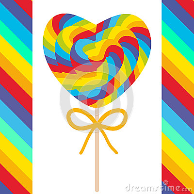 Free Valentine`s Day Heart Shaped Candy Lollipops With Bow, Colorful Spiral Candy Cane With Bright Rainbow Stripes. On Stick With Twist Stock Photos - 79964593