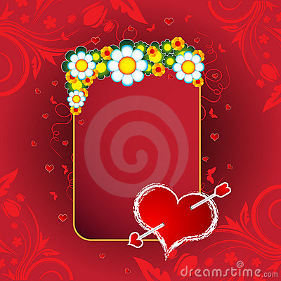 A Valentine s Day Hearts, banner and flowers