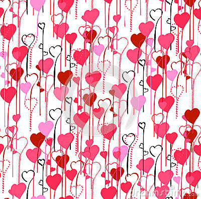 Valentine's Day hearts seamless pattern background Stock Photo