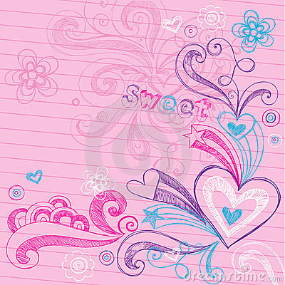 Valentine s Day Hearts Sketchy Doodles Vector