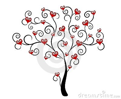 Valentine s Day Hearts on Tree Clip Art