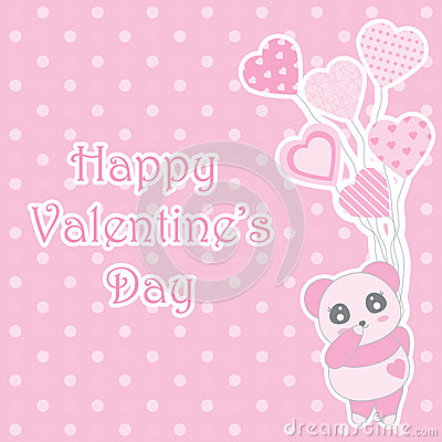 Valentine`s day illustration with cute baby pink panda brings balloons on polka dot background Vector Illustration