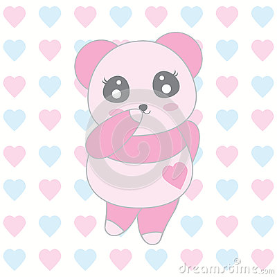 Valentine`s day illustration with cute baby pink panda on love background Vector Illustration
