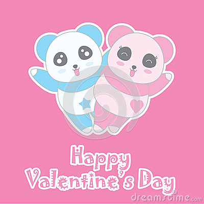 Valentine`s day illustration with cute boy and girl panda on pink background Vector Illustration