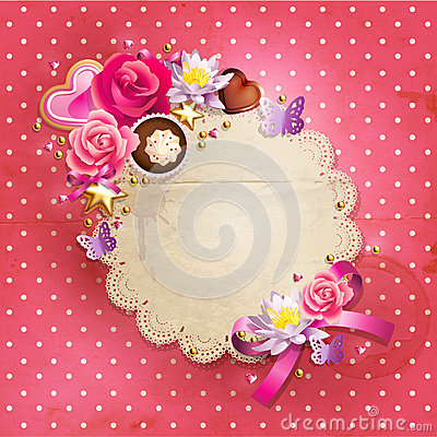 Valentine`s Day lacy frame